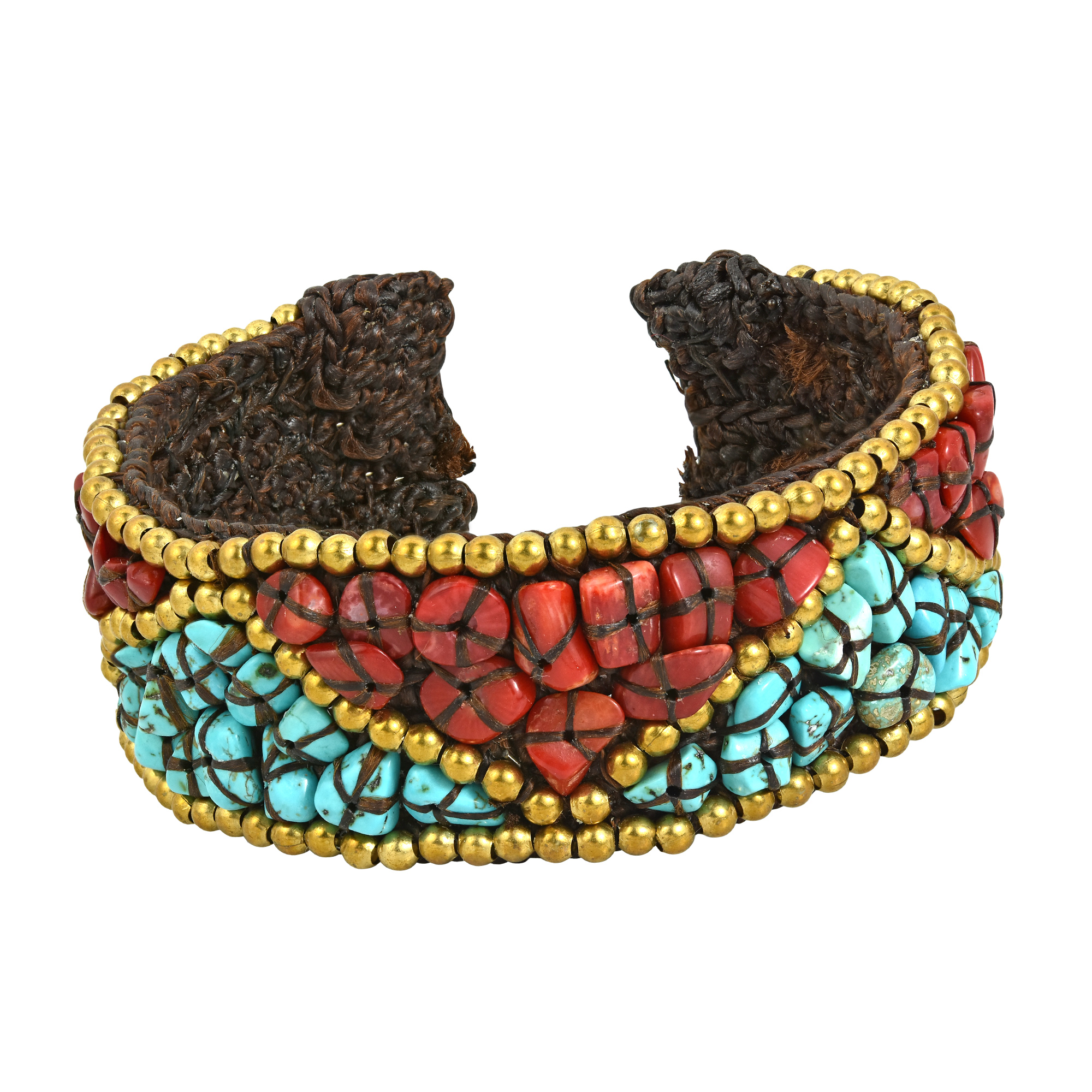 Triangle-Pattern-Turquoise-Synthetic-Coral-Brass-Cuff-Bracelet