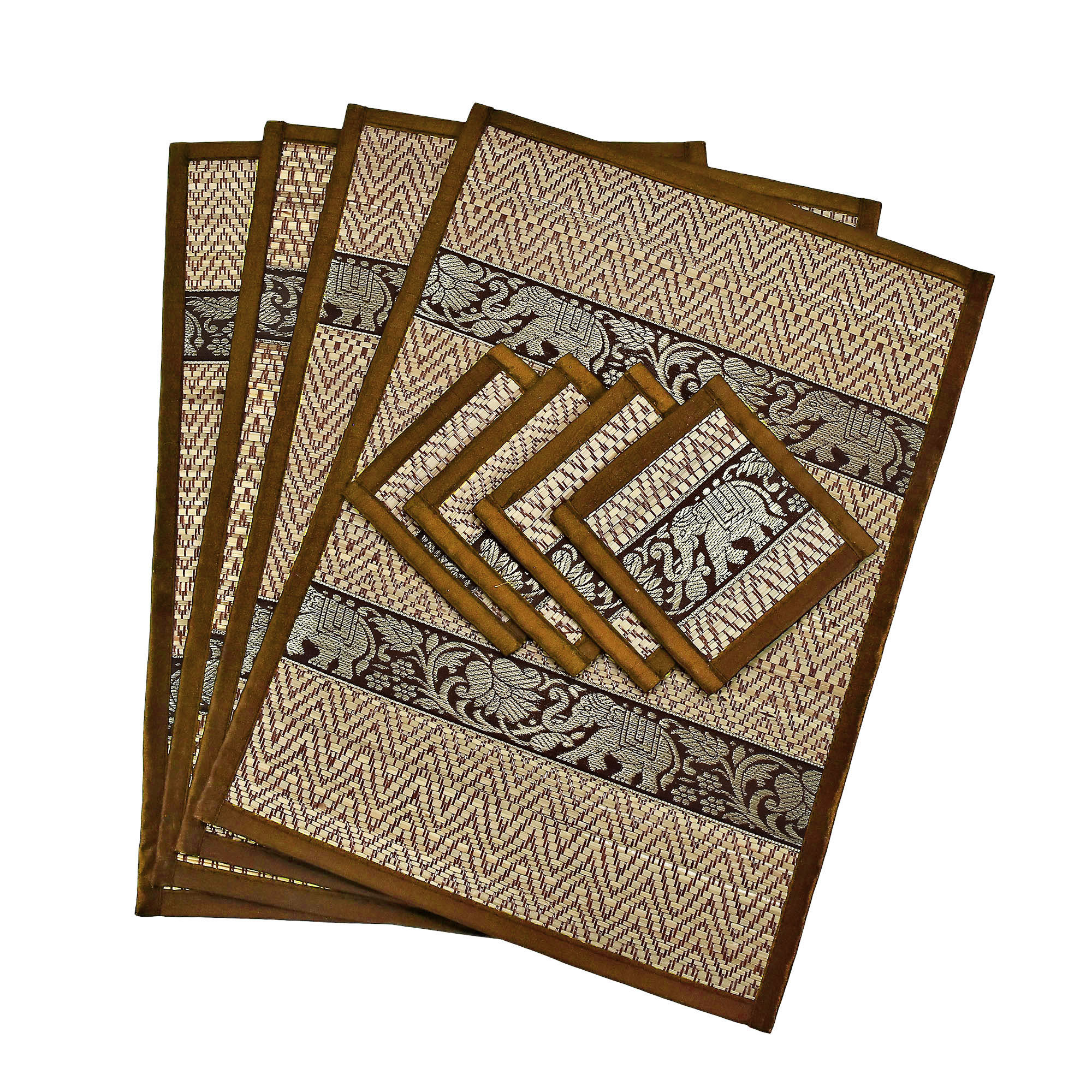Gold with Red Trim Elephant Reed Placemats /& Coasters 8 Pieces