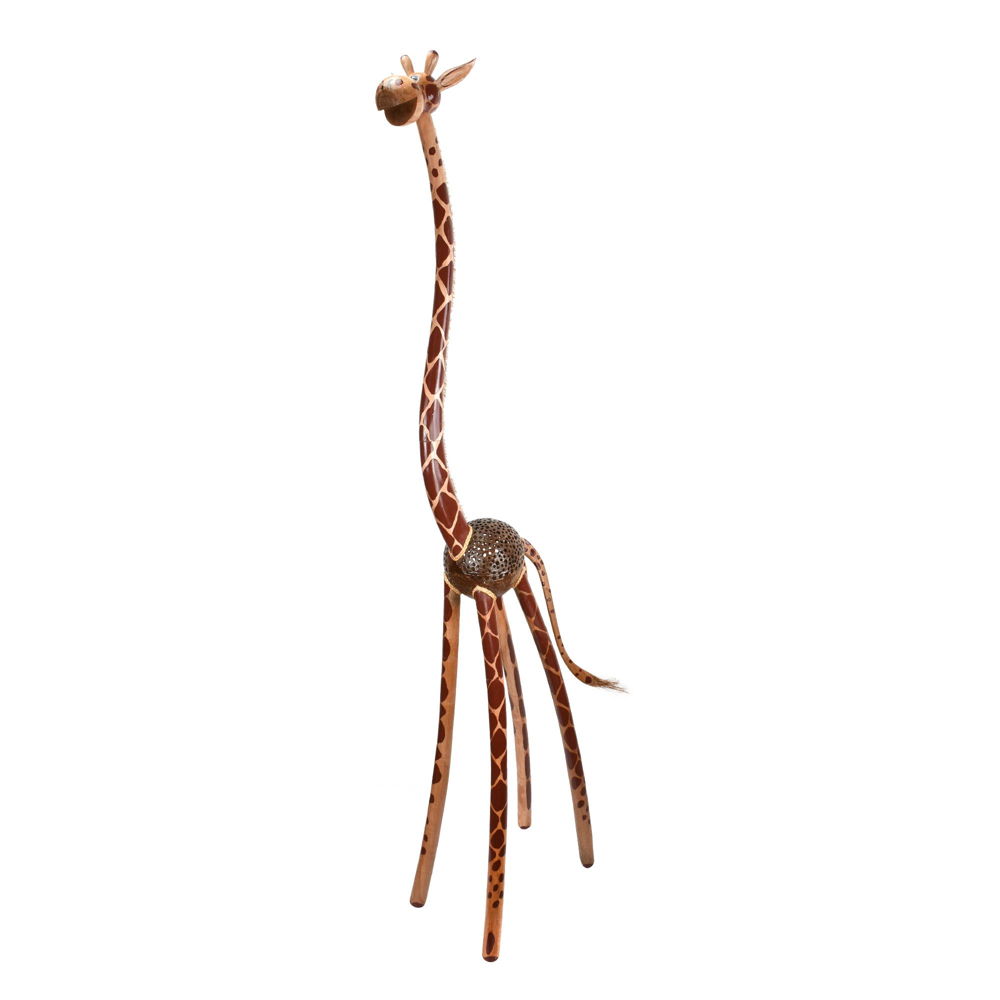Extra Tall 5 Giraffe Hand Carved Wooden African Statue Sculpture