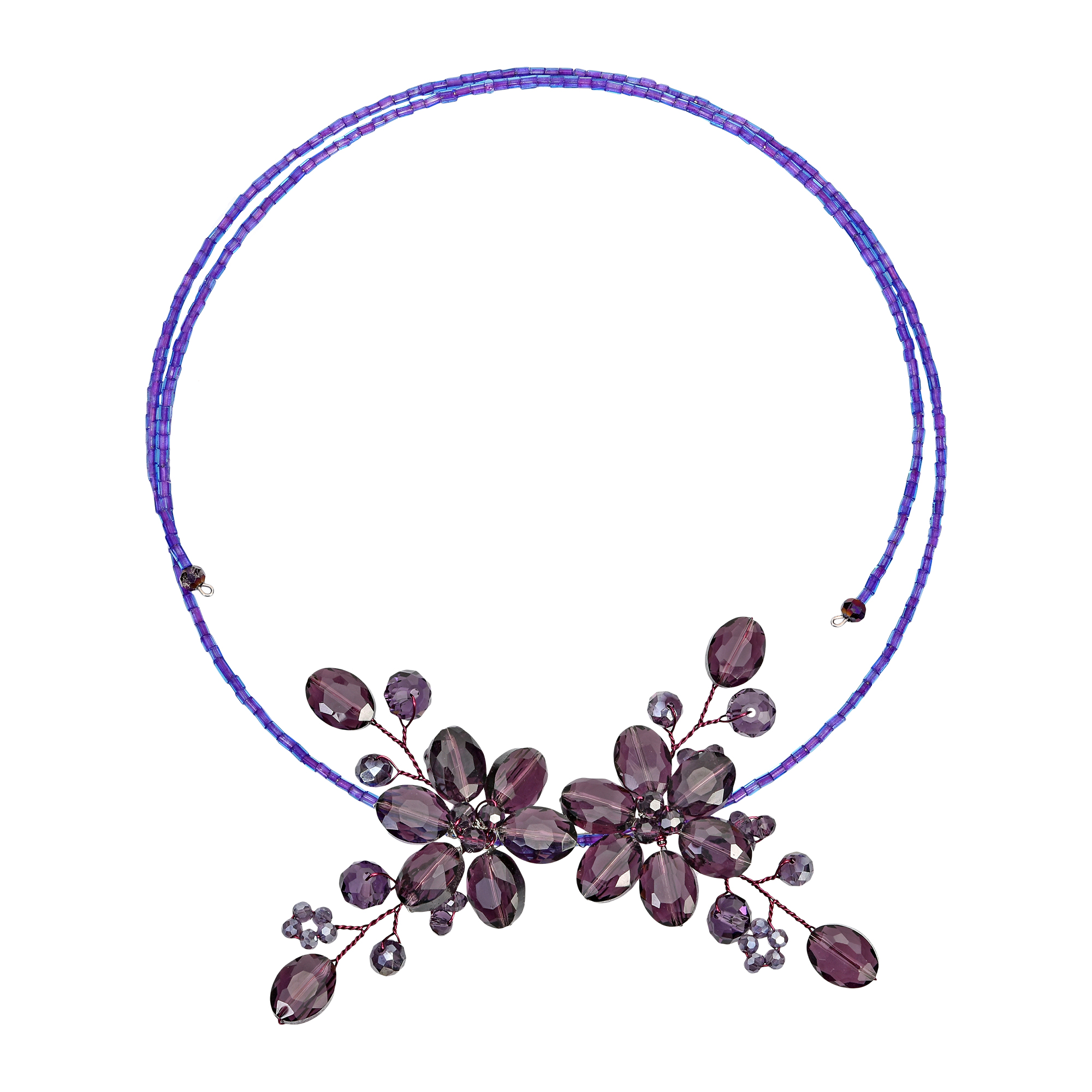 AeraVida Intricate Purple and Clear Quartz Floral .925 Sterling Silver Jewelry Set