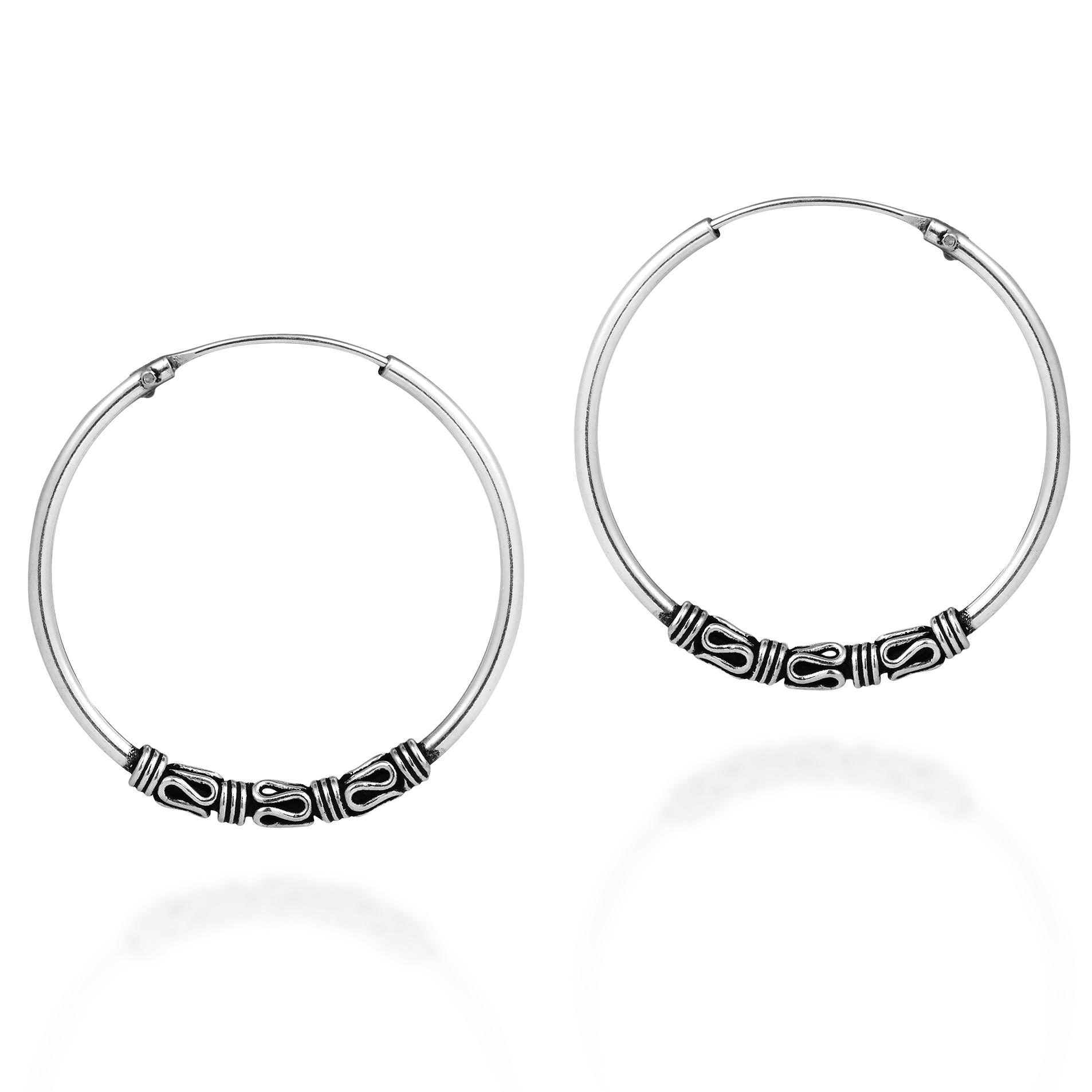 0f96b1630 Details about Interlace Tribal Cluster Bali Sterling Silver 30mm Hoop  Earrings