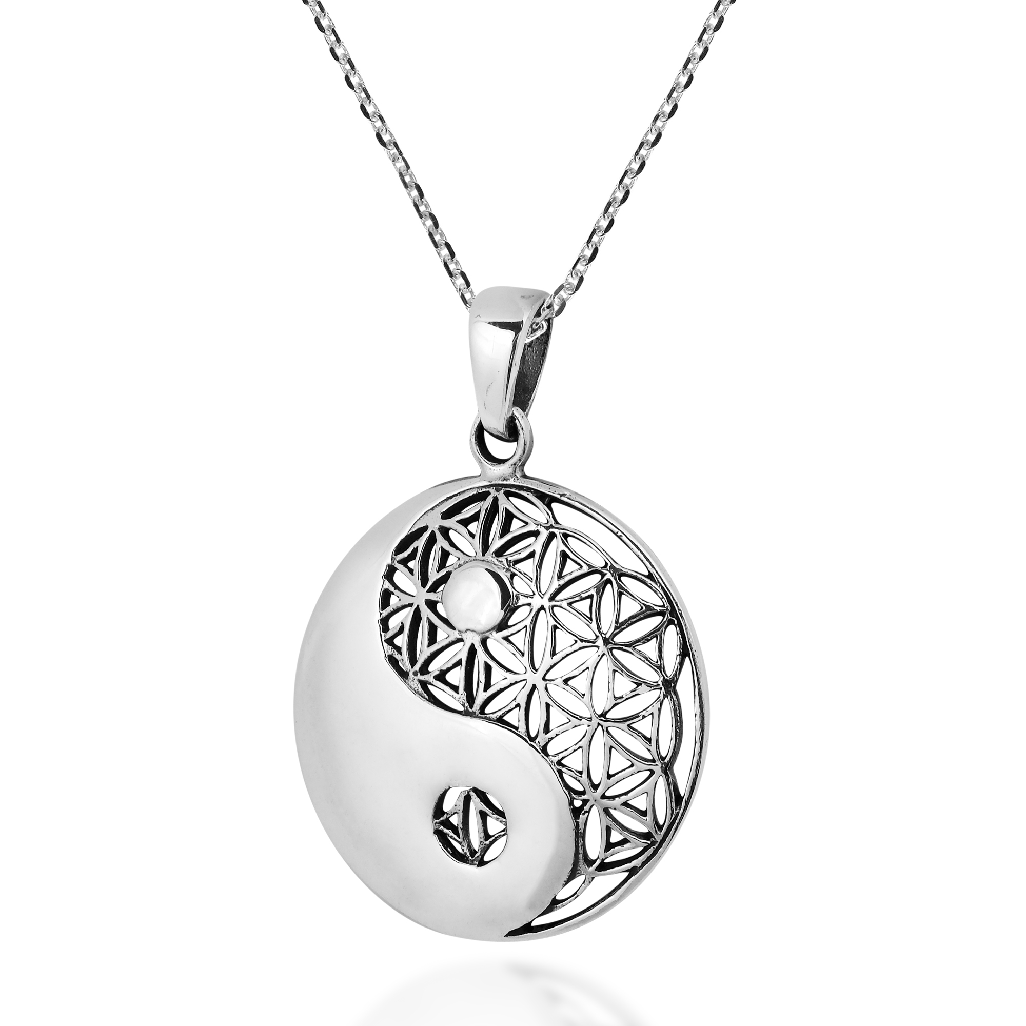 Yin Yang Balance Flower Of Life Sterling Silver Necklace