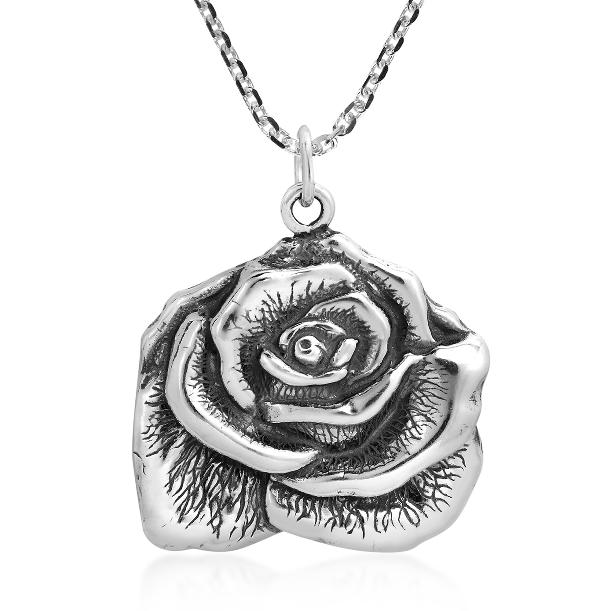 STERLING SILVER PENDANT FLOWER  ROSE 925 NEW QUALITY