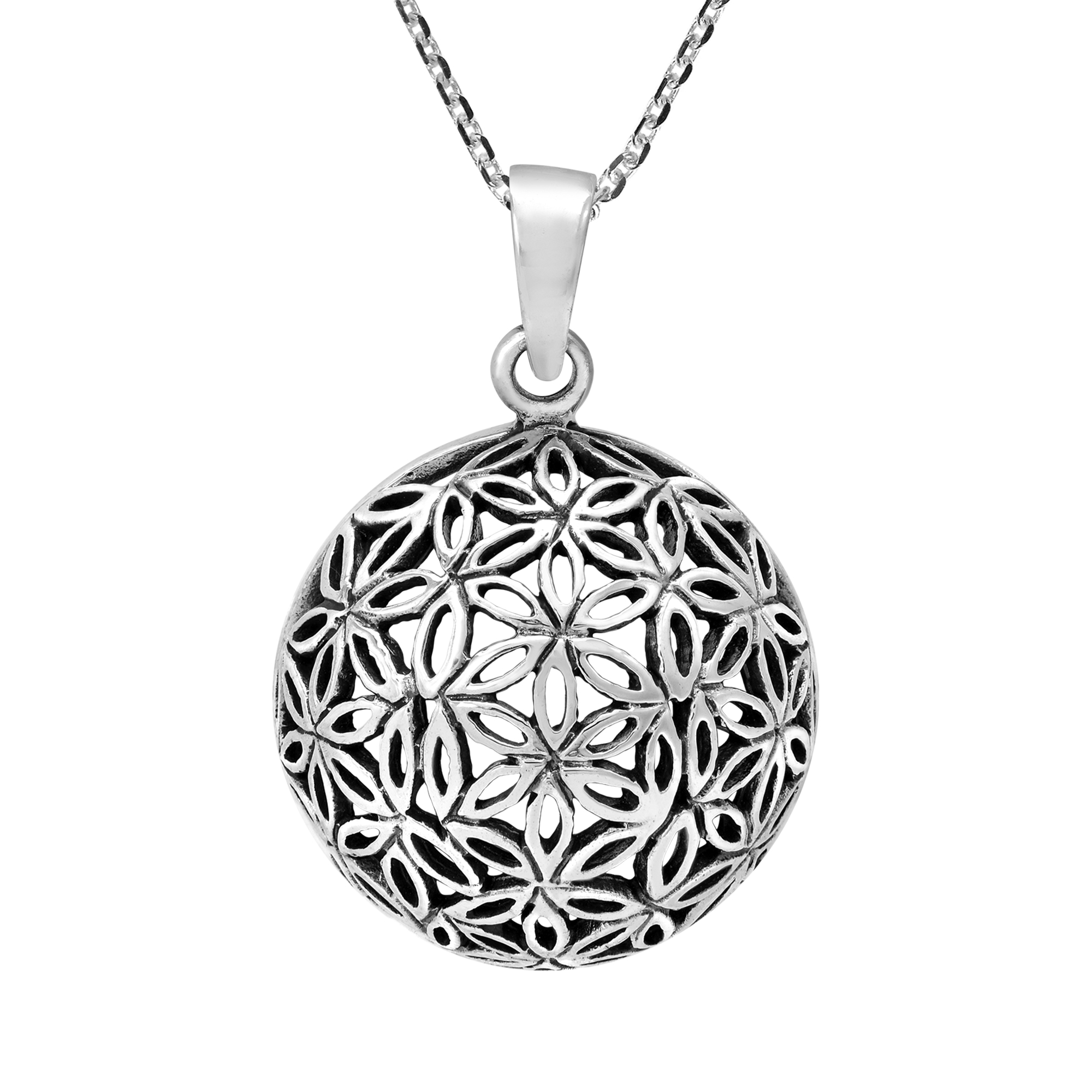 Snowflake Flower Sunburst .925 Sterling Silver Pendant Necklace