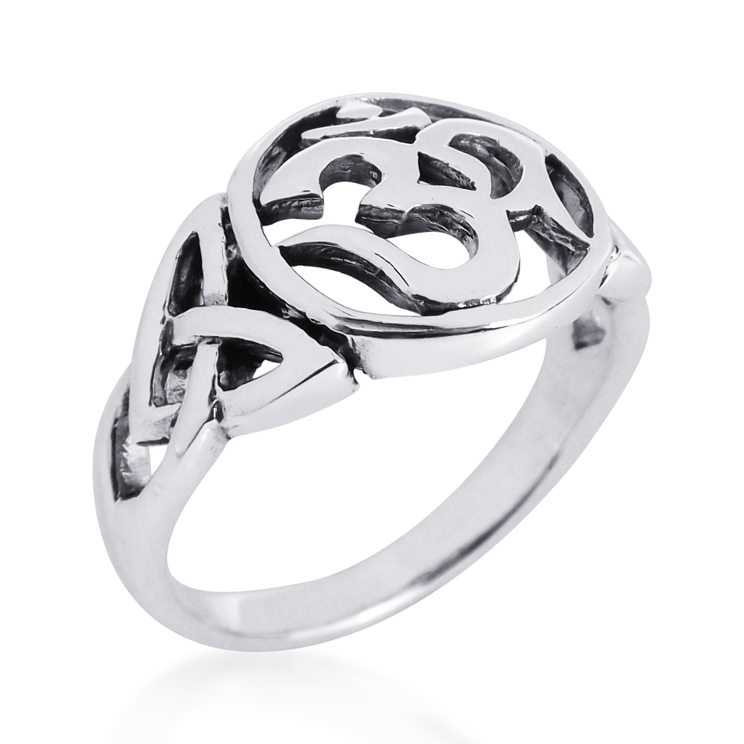8ed83044541c8 Details about Unique Triquetra Ohm Symbol .925 Sterling Silver Ring-9
