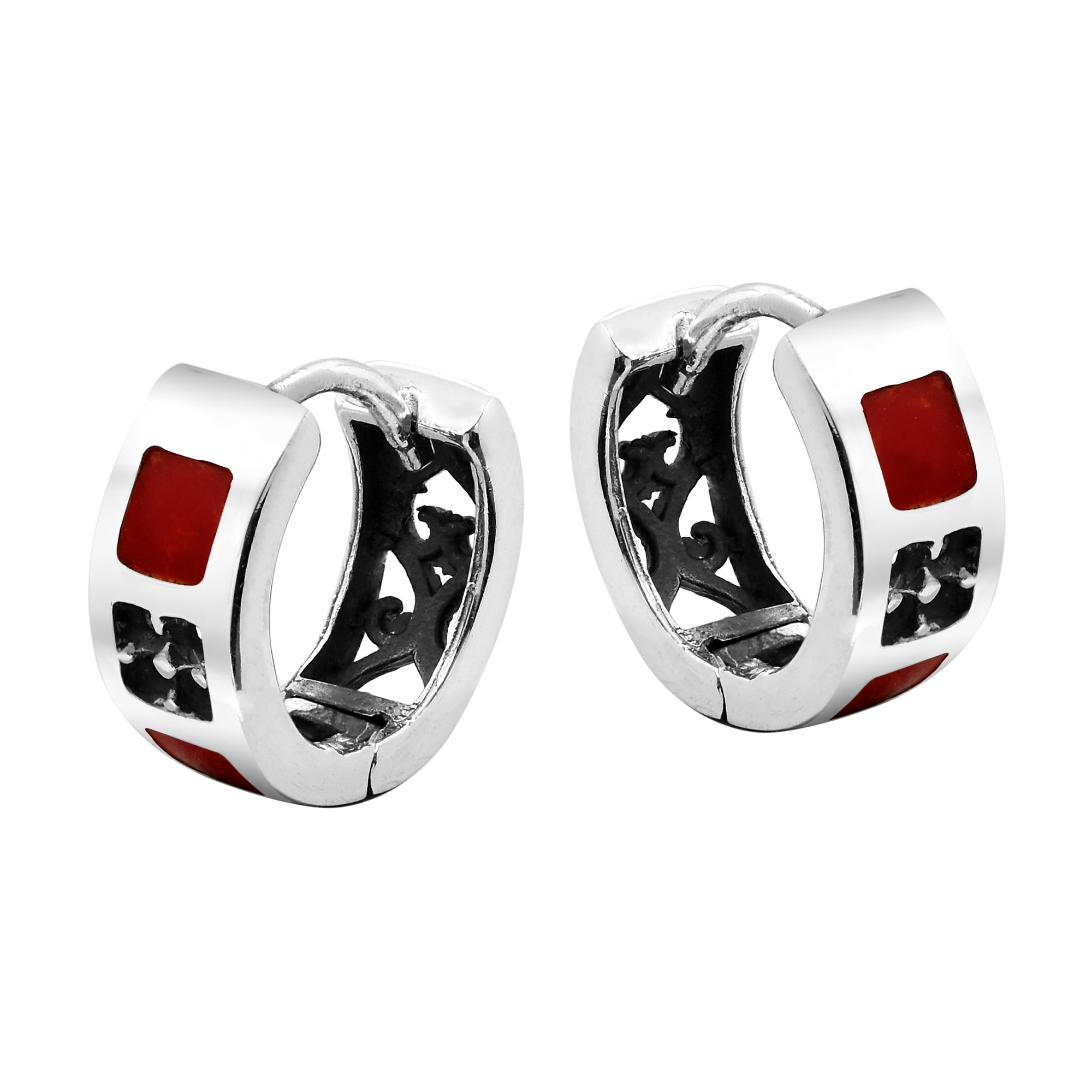 Long Created Red Coral Inlay White Gold Plated 925 Sterling Silver Threader Earrings